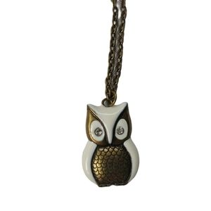 Owl Pendant Necklace and Chain, White/Bronze